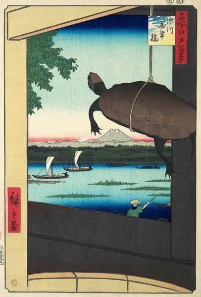 Wall Art - Painting - 100 Famous Views Of Edo - Fukagawa, Mannen Bridge by Utagawa Hiroshige
