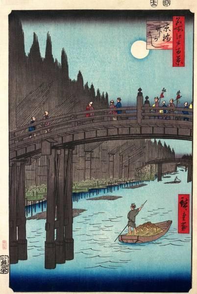 Bamboo Painting - 100 Famous Views Of Edo - Kyobashi, Bamboo Market by Utagawa Hiroshige