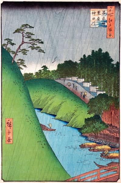 Wall Art - Painting - 100 Famous Views Of Edo - Shohei Bridge, Seido, Kanda River by Utagawa Hiroshige