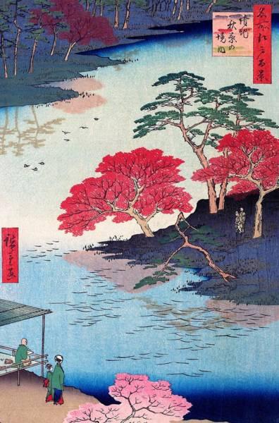 Japanese Shrine Painting - 100 Famous Views Of Edo - Ukeji, Inside Akiba Shrine by Utagawa Hiroshige