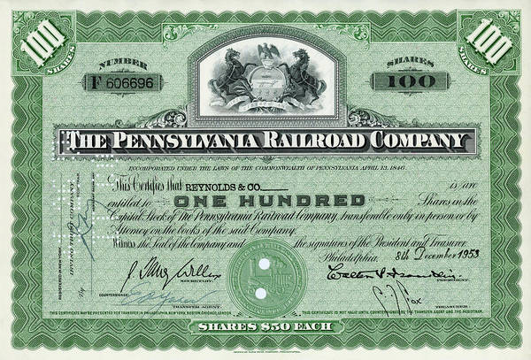 Wall Art - Photograph - 100 Shares Of Pennsylvania Railroad Stock - Large Size by Paul W Faust - Impressions of Light