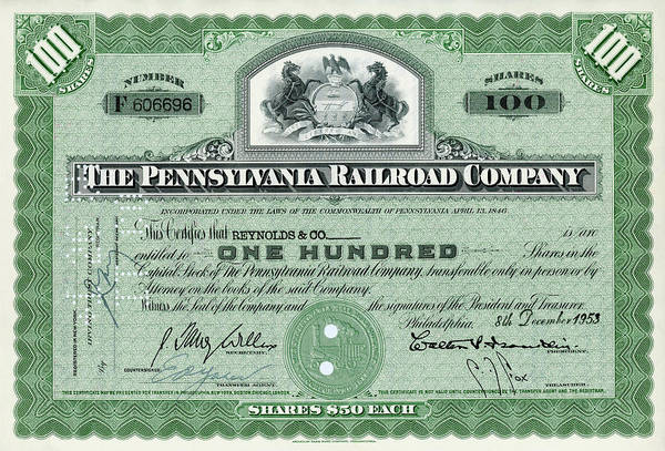 Wall Art - Photograph - 100 Shares Of Pennsylvania Railroad Stock - Small Size by Paul W Faust - Impressions of Light