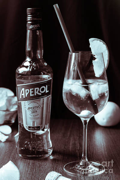 Photograph - 100 Years Of Aperol And Coctail Spritz Monochrome by Marina Usmanskaya