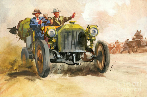 Wall Art - Painting - 10,000 Mile Motor Race by Ferdinando Tacconi