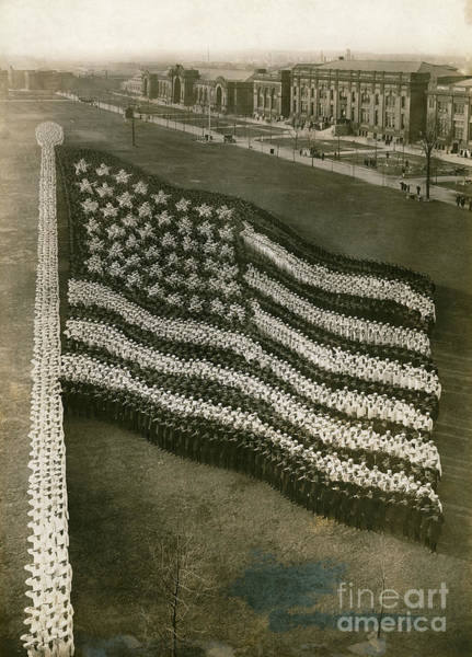 Photograph - 10,000 Navy Recruits Form A Living Stars And Stripes by Mayhart Studio Chicago