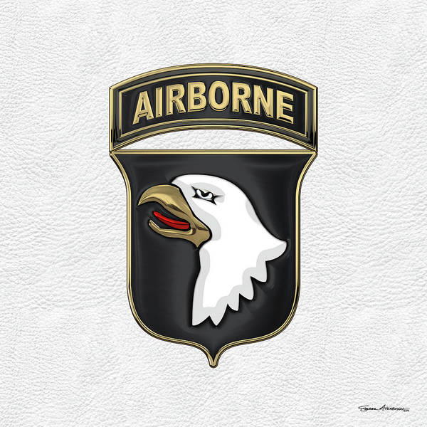 Digital Art - 101st Airborne Division - 101st  A B N  Insignia Over White Leather by Serge Averbukh