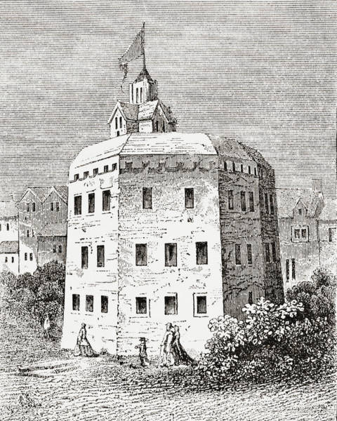 Globe Theatre Drawing - The Globe Theatre, Southwark, London In The 17th Century by Ken Welsh