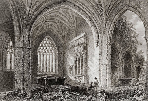 Wall Art - Drawing - Interior Of Holy Cross Abbey, County Tipperary, Ireland by Ken Welsh