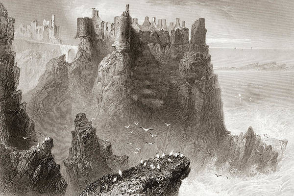 Wall Art - Drawing - Dunluce Castle, County Antrim, Ireland by Ken Welsh