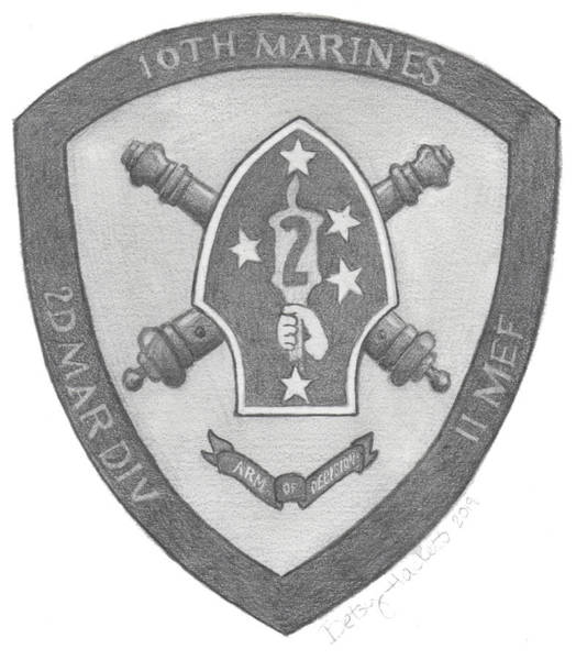 Painting - 10th Marines Crest by Betsy Hackett