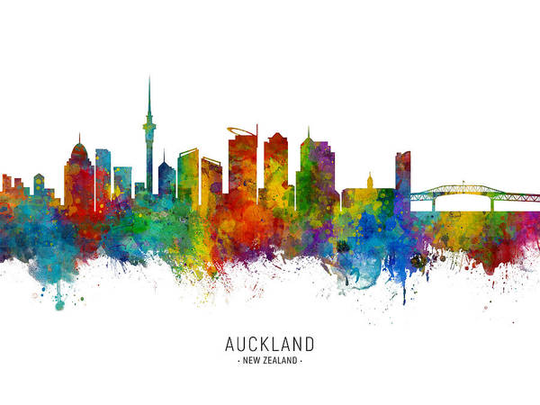Wall Art - Digital Art - Auckland New Zealand Skyline by Michael Tompsett