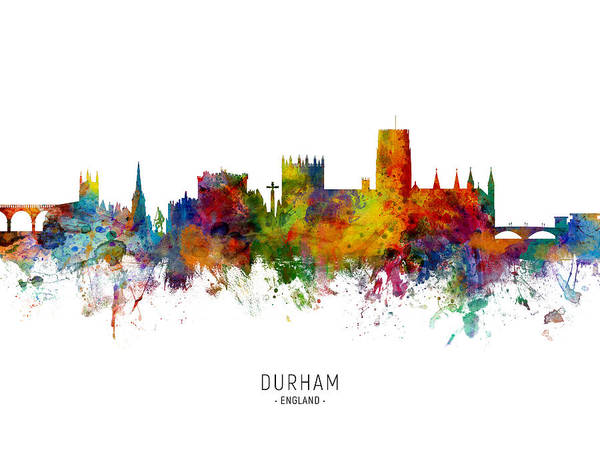 Digital Art - Durham England Skyline Cityscape by Michael Tompsett