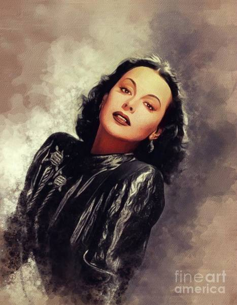 Wall Art - Painting - Hedy Lamarr, Vintage Movie Star by John Springfield