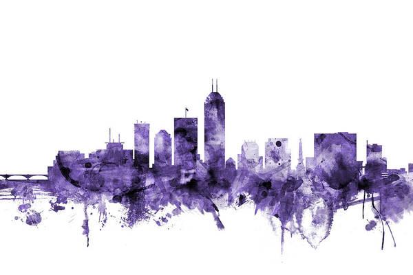 Indianapolis Wall Art - Digital Art - Indianapolis Indiana Skyline by Michael Tompsett