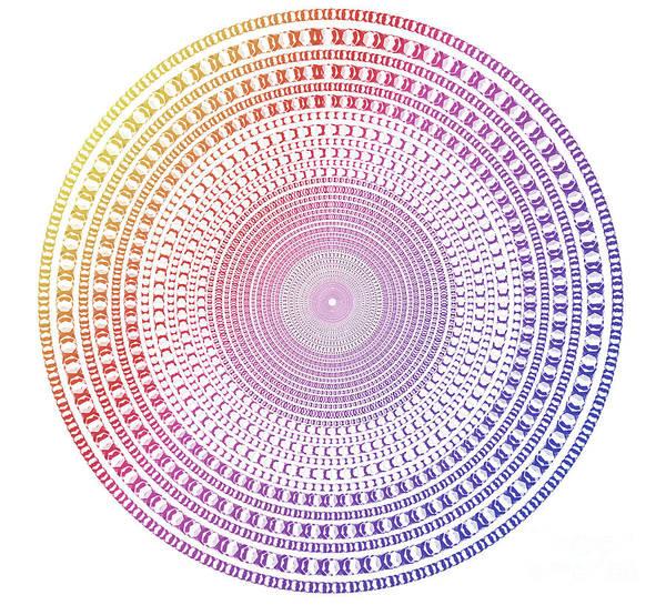 Wall Art - Digital Art - Vintage Multicolor Circle by Atiketta Sangasaeng