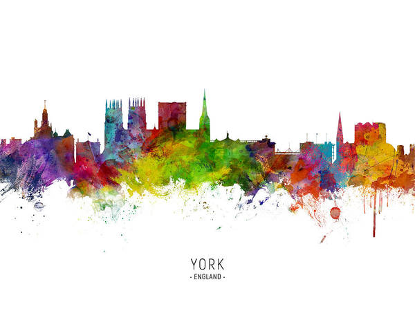 Wall Art - Digital Art - York England Skyline by Michael Tompsett