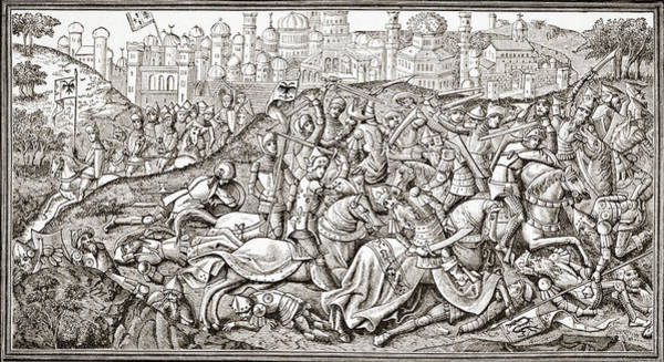Wall Art - Drawing - Conquest Of Jerusalem By  Charlemagne by Ken Welsh