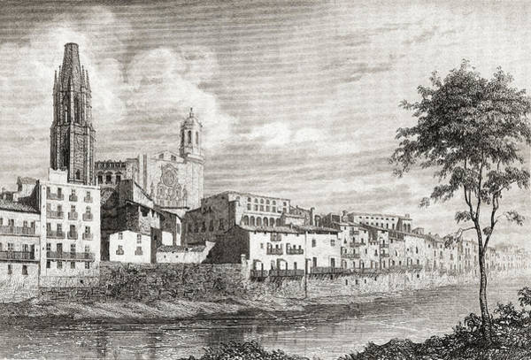 Wall Art - Drawing - A View Of The City Of Gerona, Spain, In The 17th Century. by Ken Welsh
