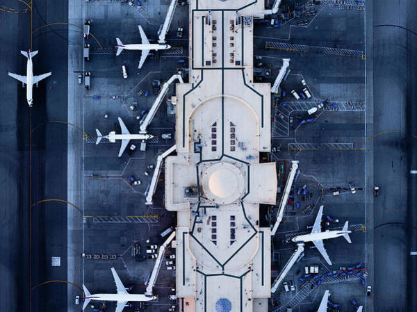 Lax Photograph - Airliners At  Gates And Control Tower by Michael H