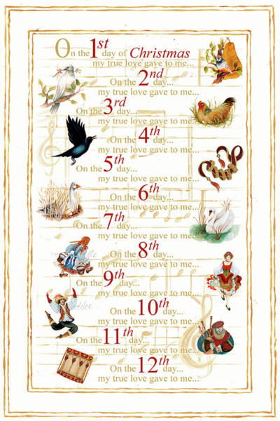 Wall Art - Painting - 12 Days Of Christmas  (vertical) by Janice Gaynor