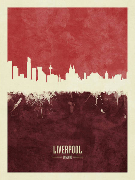 Wall Art - Digital Art - Liverpool England Skyline by Michael Tompsett