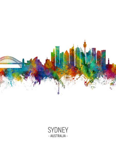 Digital Art - Sydney Australia Skyline by Michael Tompsett