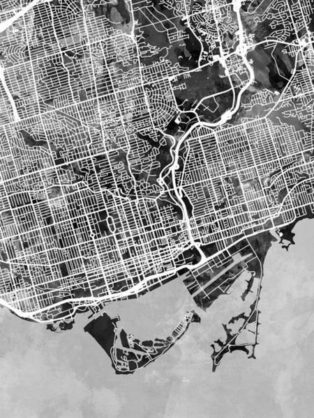 Toronto Wall Art - Digital Art - Toronto Street Map by Michael Tompsett