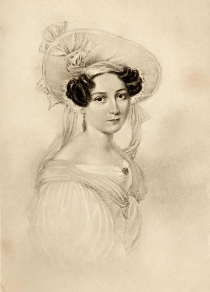 Wall Art - Drawing - Princess Feodora Of Hohenlohe-langenburg, 1807-1872. Stepsister Of Queen Victoria by Ken Welsh