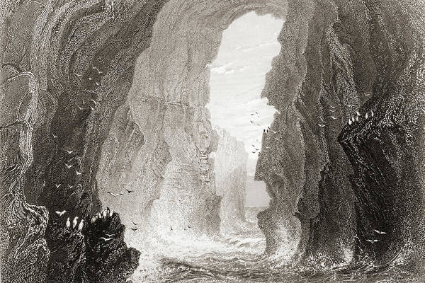 Wall Art - Drawing - Dunkerry Cave, County Antrim, Ireland. by Ken Welsh