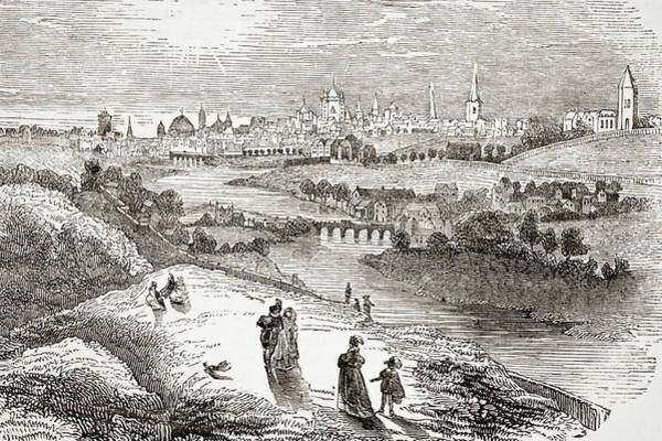 Wall Art - Drawing - View Of Dublin, Ireland In The 17th Century. by Ken Welsh