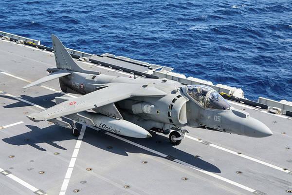Wall Art - Photograph - An Av-8b+ Harrier II Jet Aboard by Daniele Faccioli