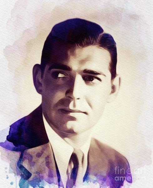 Clark Gable Wall Art - Painting - Clark Gable, Vintage Movie Star by John Springfield