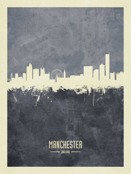Wall Art - Digital Art - Manchester England Skyline by Michael Tompsett