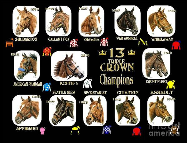 Wall Art - Painting - 13 Triple Crown Champions by Pat DeLong