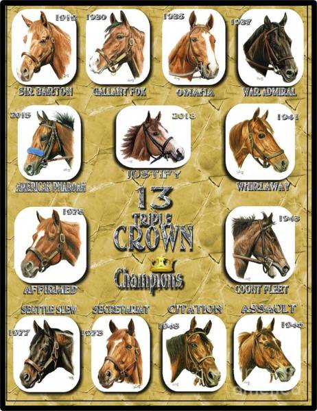 Wall Art - Painting - 13 Triple Crown Winners  Gold by Pat DeLong