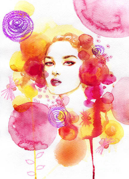 Fitness Digital Art - Woman Face. Hand Painted Fashion by Anna Ismagilova