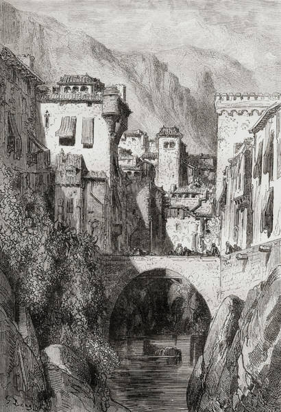 Wall Art - Drawing - Granada, Spain. The Banks Of The Darro by Ken Welsh