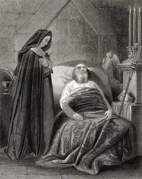Wall Art - Drawing - Death Of St.patrick by Ken Welsh