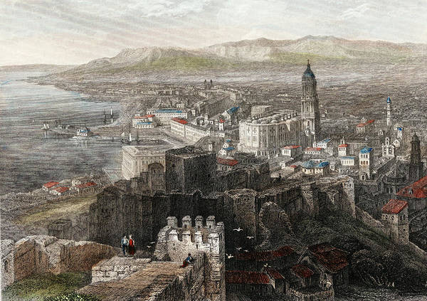 Wall Art - Drawing - Malaga, Costa Del Sol, Spain.  General View,1840.  by Ken Welsh