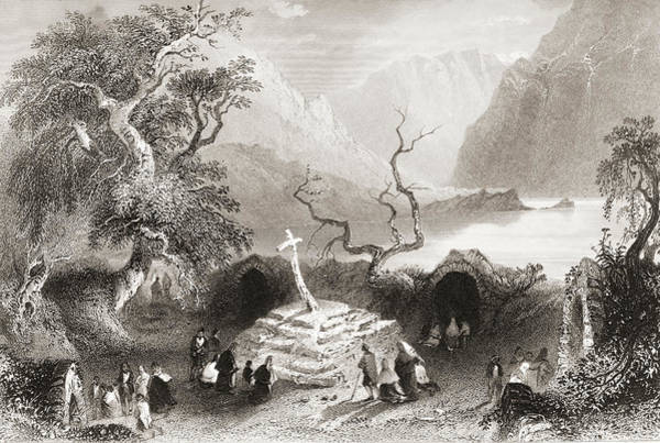 Wall Art - Drawing - Scene At Gougane Barra, County Cork, Ireland by Ken Welsh