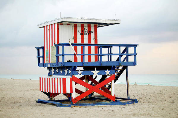 Wall Art - Photograph - 13th Street Lifeguard Tower - Miami Beach by Art Block Collections