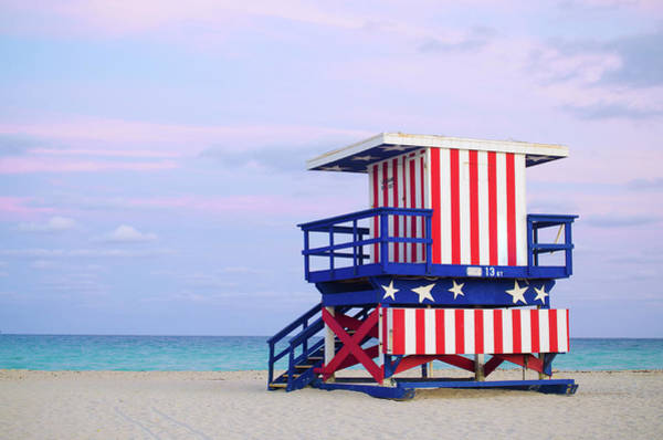 Beach Hut Photograph - 13th Street Lifeguard Hut In Miami by Gregobagel
