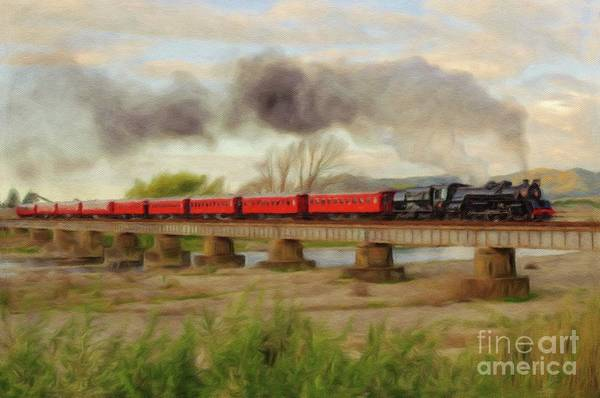 Vintage Train Painting - Steam Engine, Locomotive, Train by John Springfield