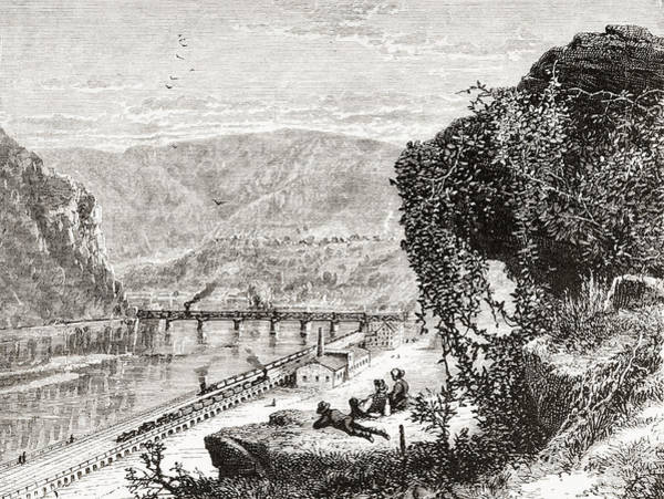Wall Art - Drawing - Harpers Ferry, United States Of America, Circa 1870's by Ken Welsh