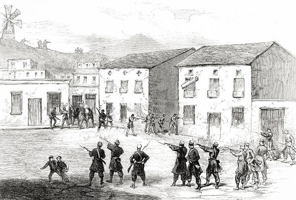 Wall Art - Drawing - Carabiniers Resisting The Insurgents At Cartagena, Murcia Province, Spain During 3rd Carlist War by Ken Welsh