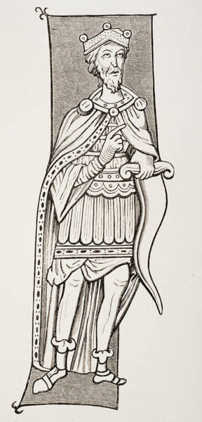 Sax Drawing - Frankish Chief Or King Armed With A Scramasax, A Type Of Single Edged Knife. by Ken Welsh