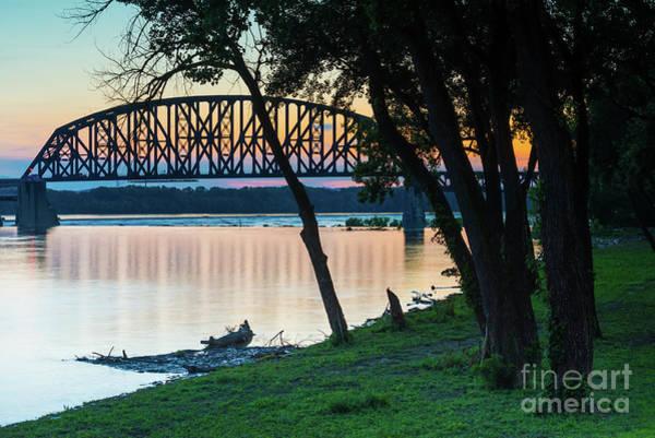 Photograph - 14th Street Railroad Bridge Sunset - Louisville Kentucky by Gary Whitton
