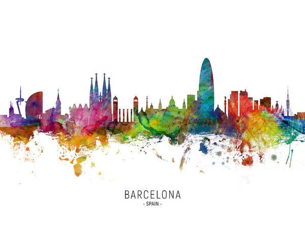 Wall Art - Digital Art - Barcelona Spain Skyline by Michael Tompsett