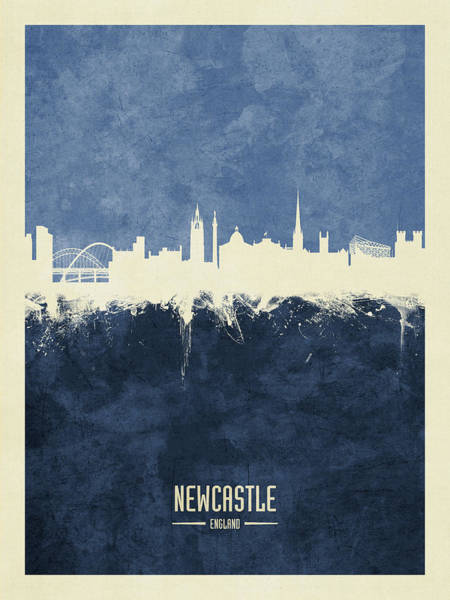 Wall Art - Digital Art - Newcastle England Skyline by Michael Tompsett