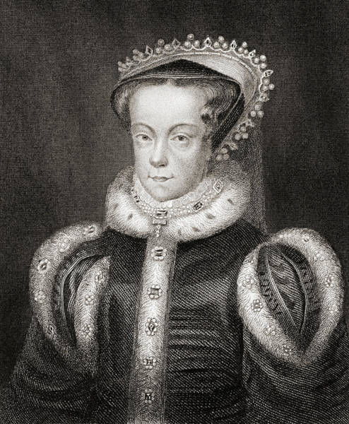Wall Art - Drawing - Mary Queen Of Scots, 1542-1587.   by Ken Welsh